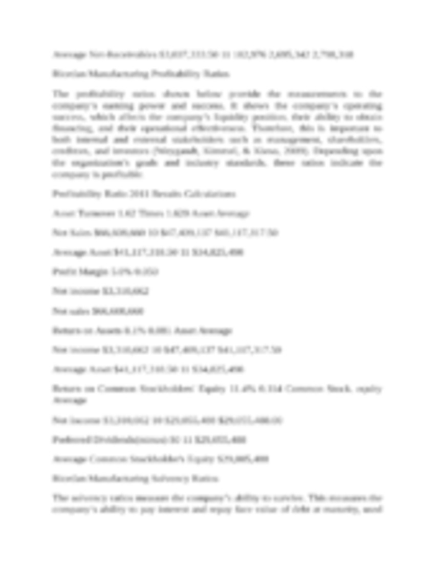 acc 291 week 5 memo Memo to the ceo of riordan manufacturing acc 291 week 5 riordan manufacturing  ratio analysis memo letter to shareholders from nanotech ceo peter riordan.