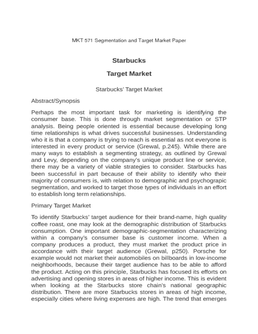 demographic analysis of starbucks