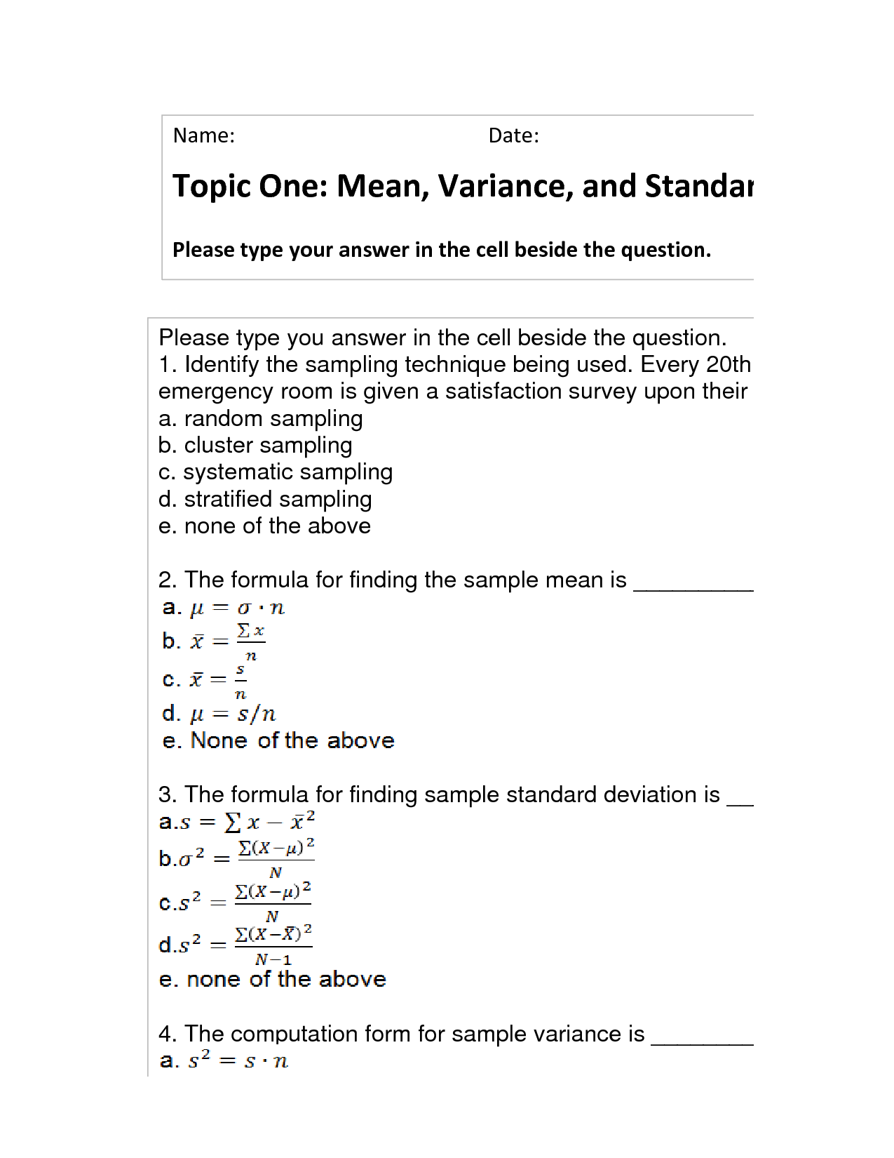 Solution Topic One Mean Variance And Standard Deviation Studypool