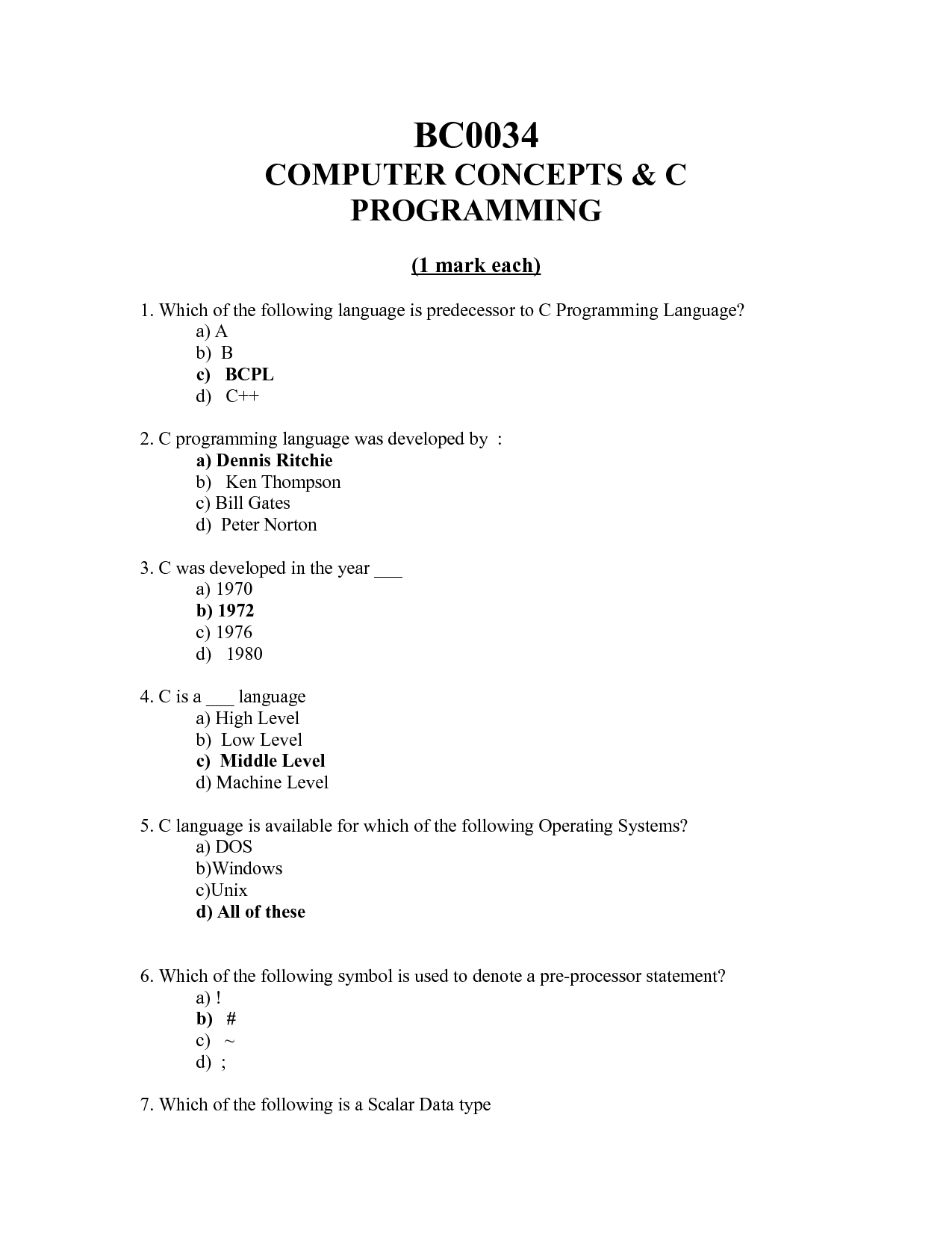Solution computer concepts c programming studypool bc0034computer concepts c programming1 mark each1 which of the following language is predecessor to c programming language a a b bc bcpld c 2 c buycottarizona Image collections
