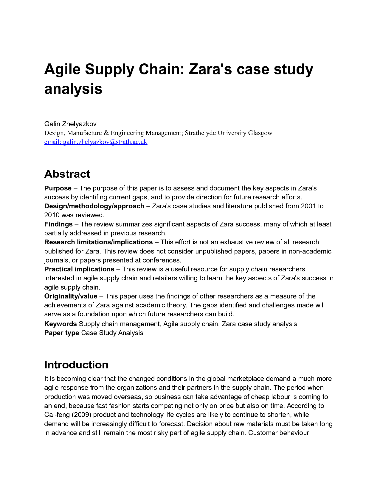 supply chain management case study analysis