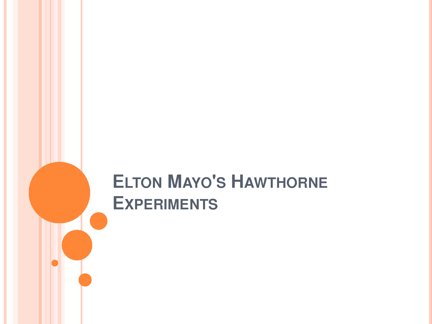 The hawthorne experiments essay