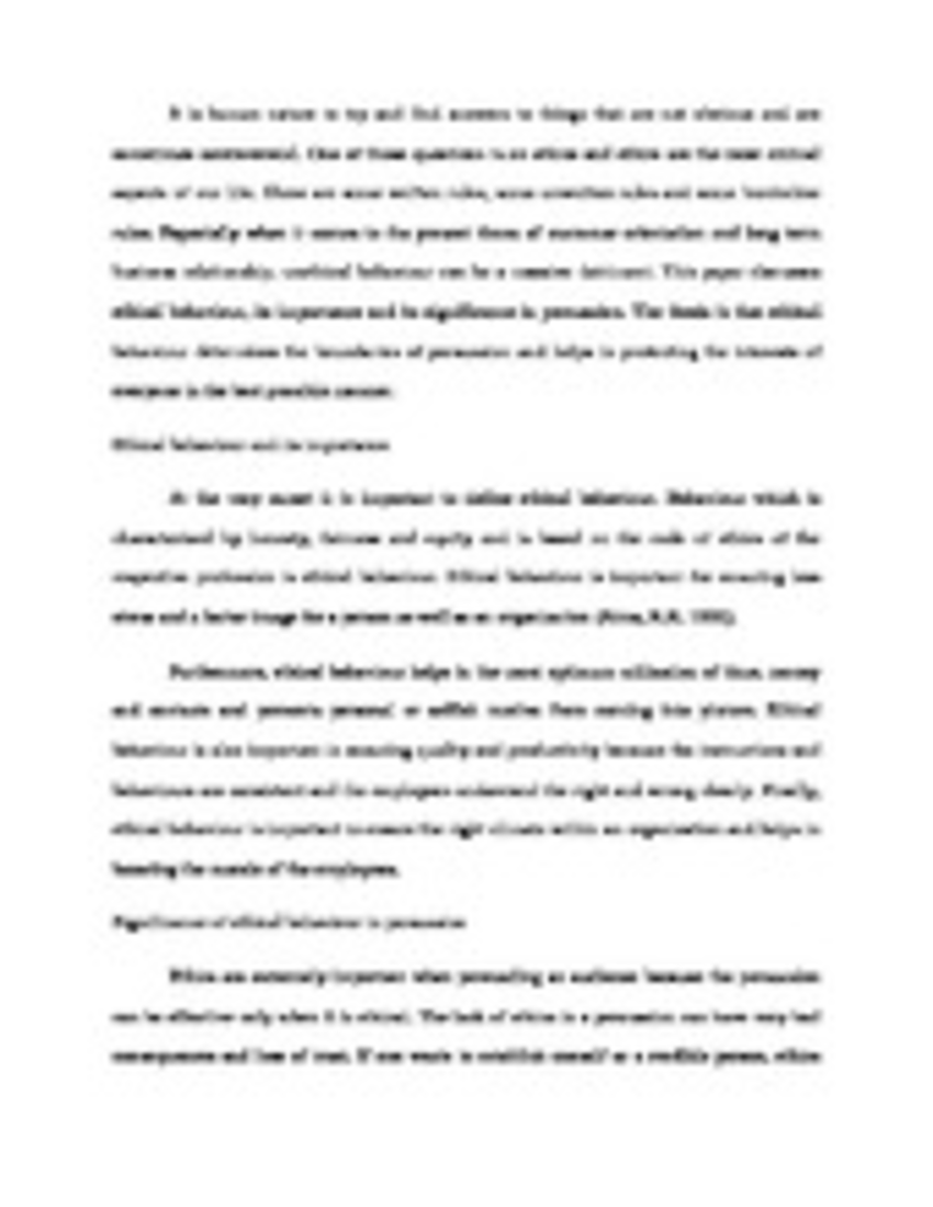 ethics and persuasion prepare a three to five page paper not ethics and persuasionprepare a three to five page paper not including title and reference pages formattedaccording to apa style as outlined in the