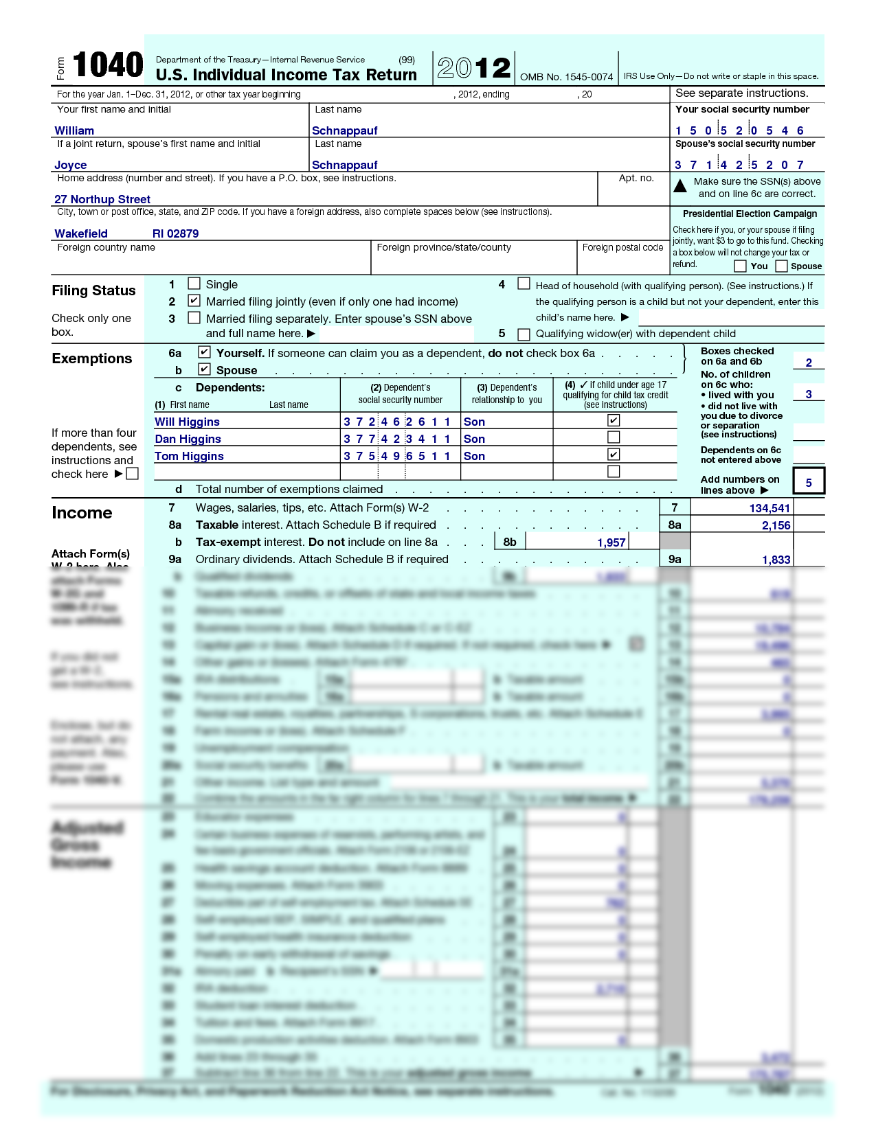 Solution Tax Returns For Bill And Joyce Schnappauf Form 1040 2012