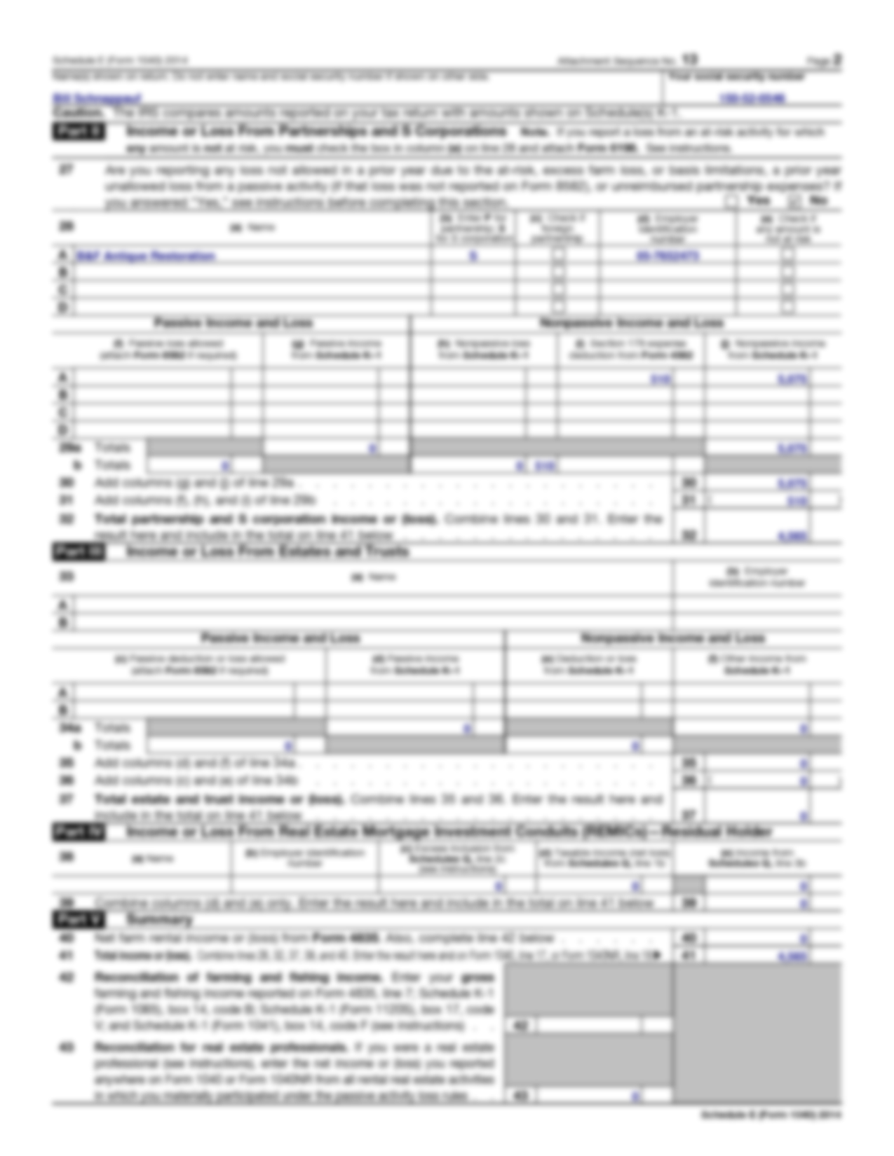 SOLUTION: Tax Returns Schnappauf Schedule E 2014 - Studypool