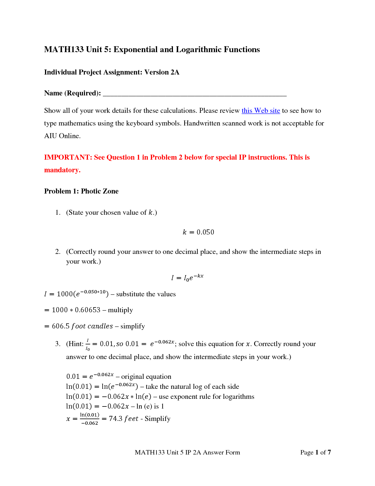 MATH133 Unit 1 Individual Project A / (AIU)