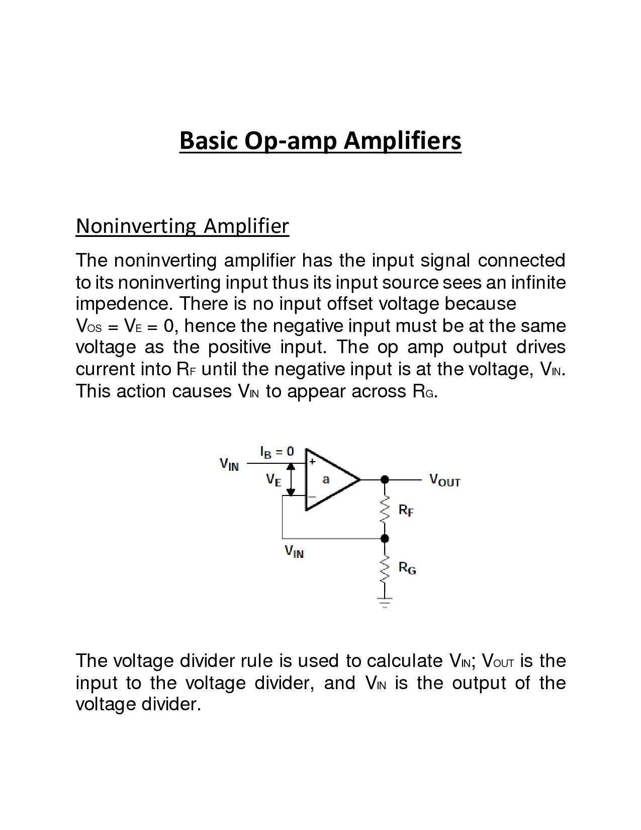 Solution Basic Op Amp Amplifier Circuits Studypool Circuit Is The Noninverting A Showing Page 1 7