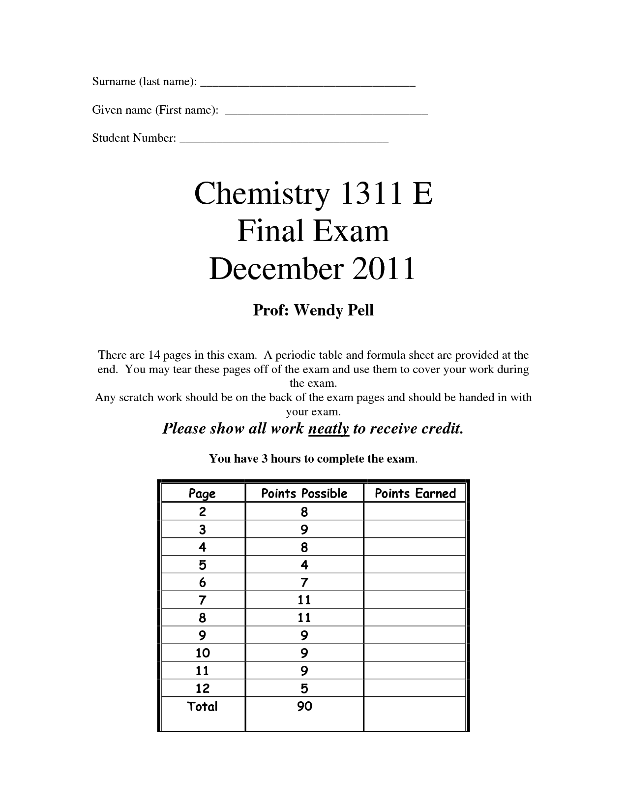 chemistry final exam answers