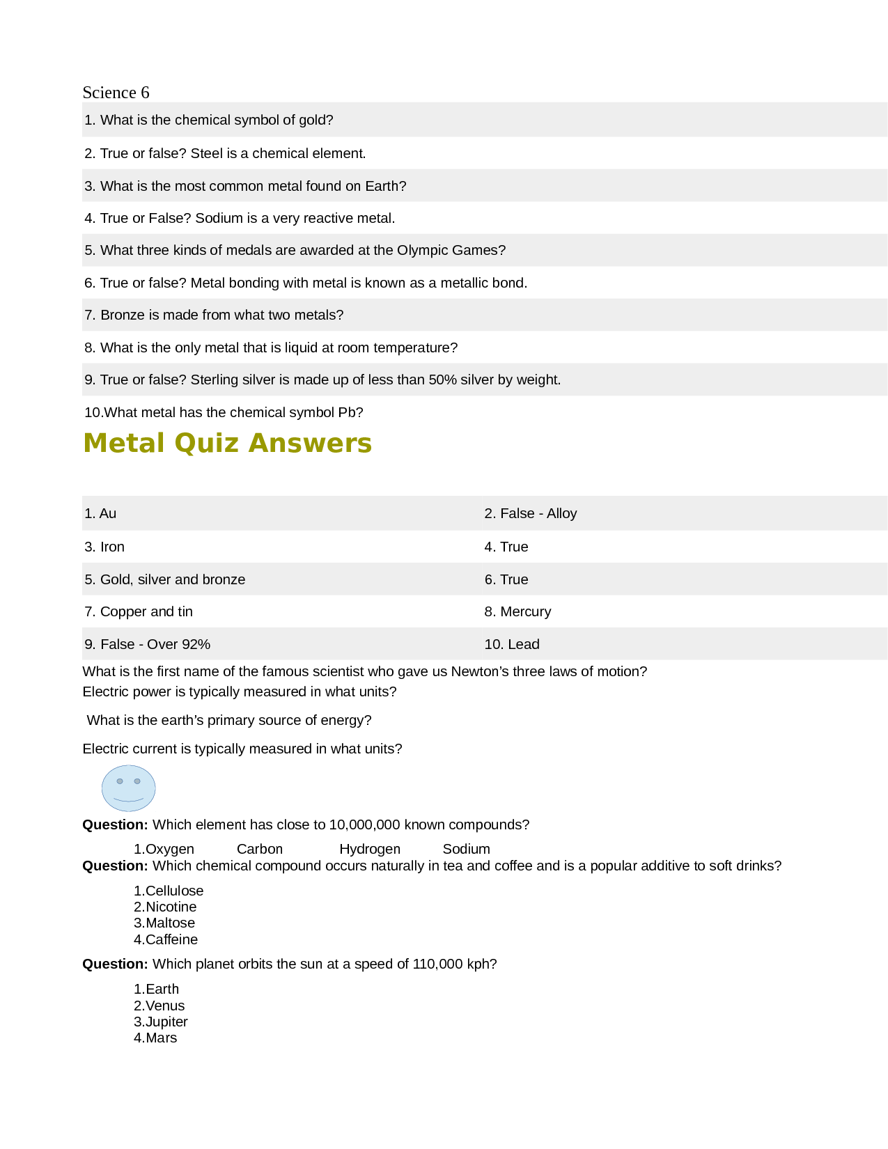 Solution Metal Quiz Answers Science Studypool