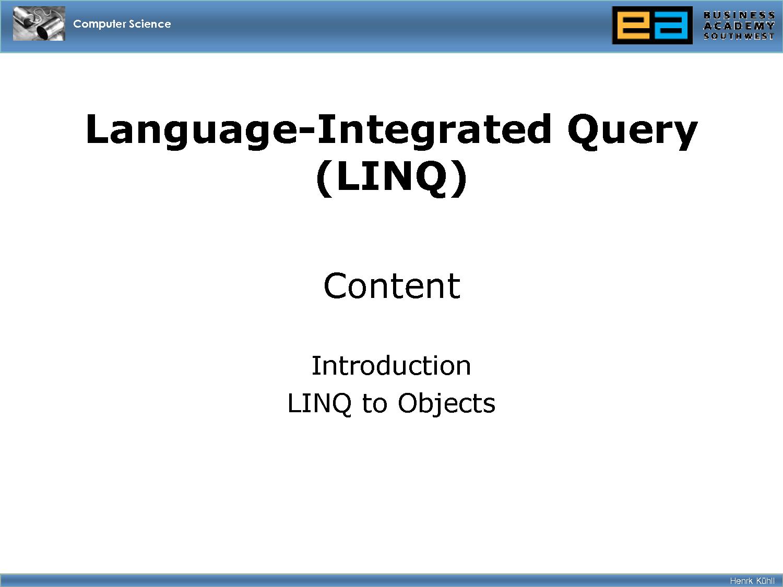 SOLUTION: Language-Integrated ...