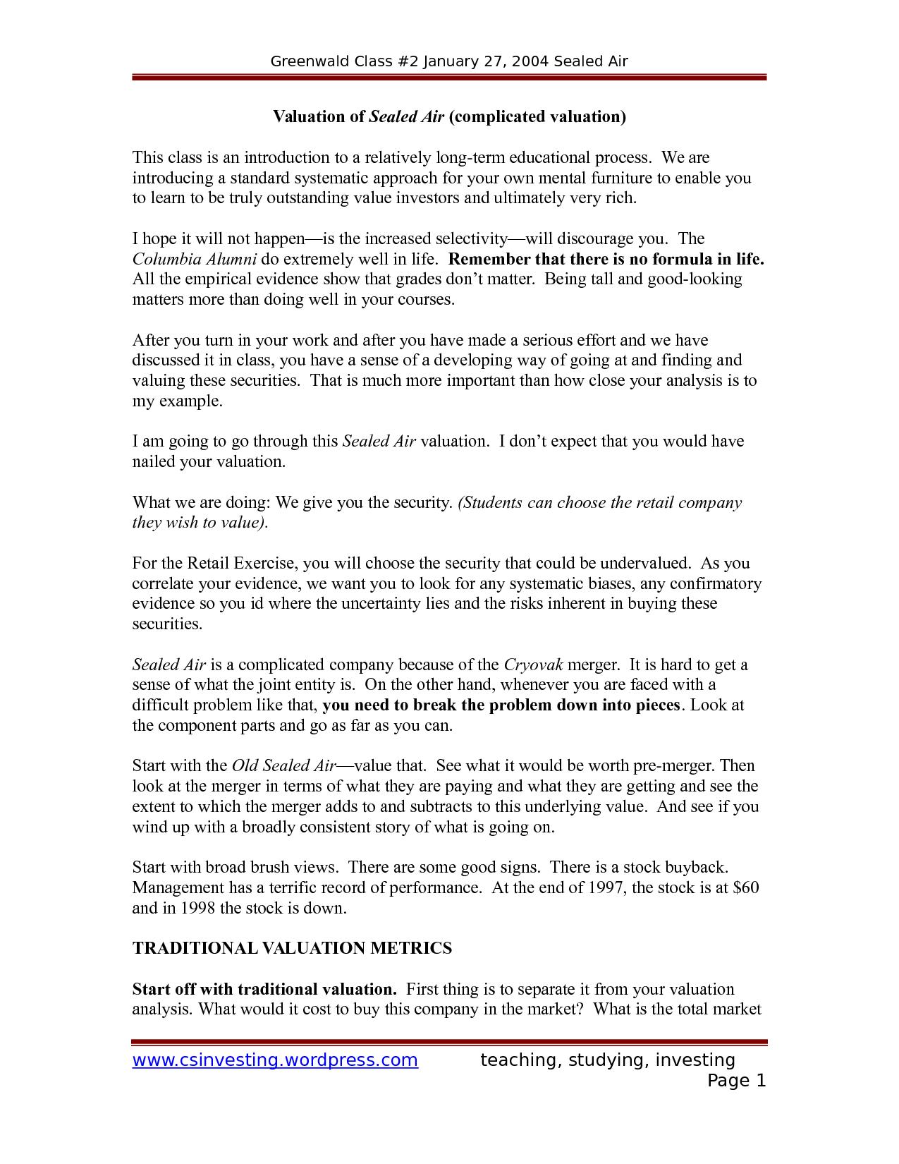 sealed air case essay example