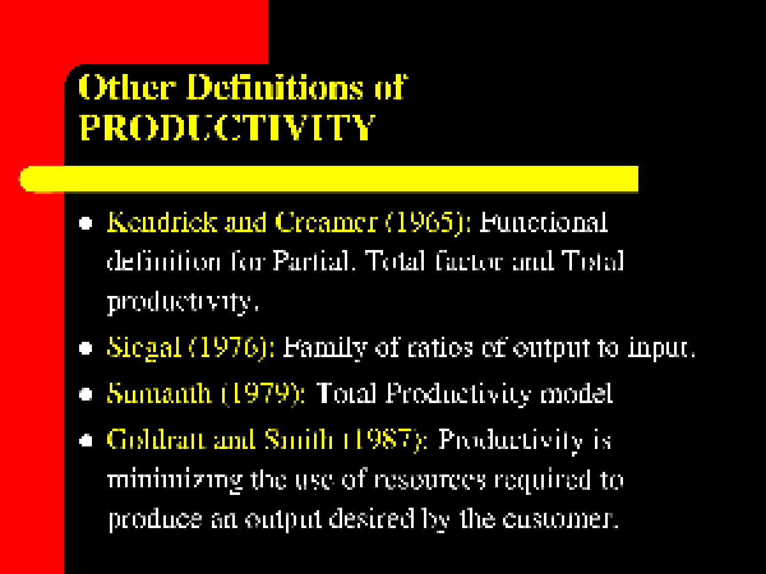 defining the concept of productivity Defining productivity as the product of efficiency and effectiveness saurabh s deshpande & stephanie c payne texas a&m university abstract employee productivity is one of the most common criteria used for personnel decisions of raises, promotion, and termination.