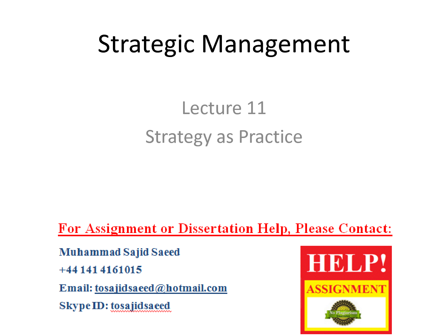 strategic managements lecture notes 4 for free study notes log on: wwwgurukpocom m-302 business policy and strategic management.