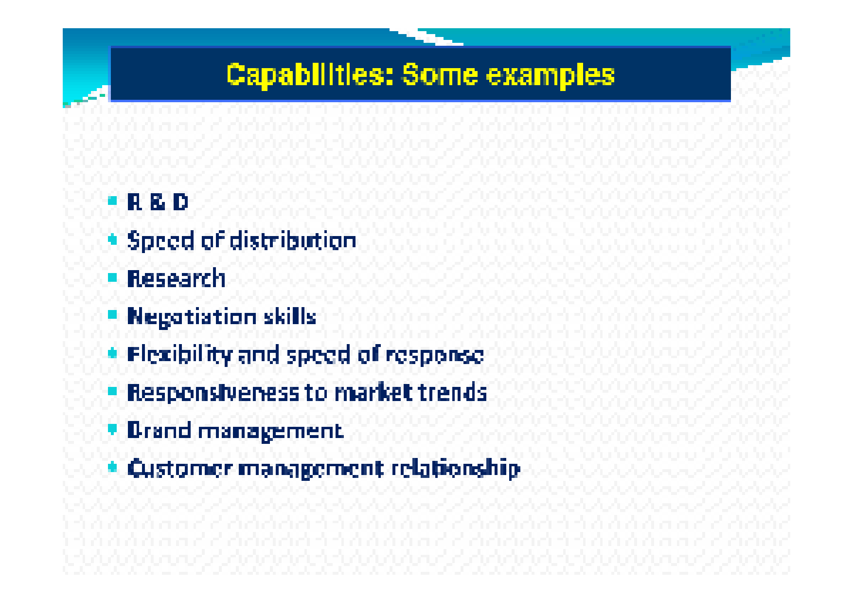 dell resources and capabilities Intangible assets are often overlooked, but they are many times the only source of sustainable competitive advantage (ie brand, technology, information, culture, etc) taking the lead from military campaigns in which the goal is to pitch strength against weakness(1.