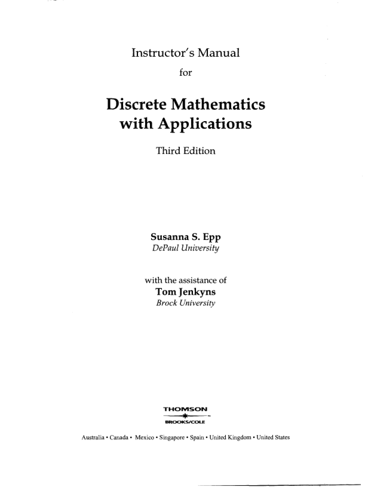 Discrete Structures With Applications 3rd Edition Solution Manual Susanna  S. EPP