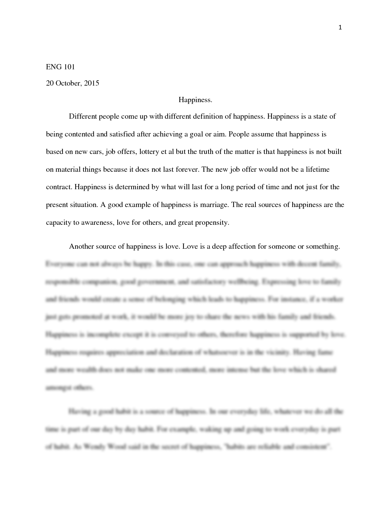 happiness story essay
