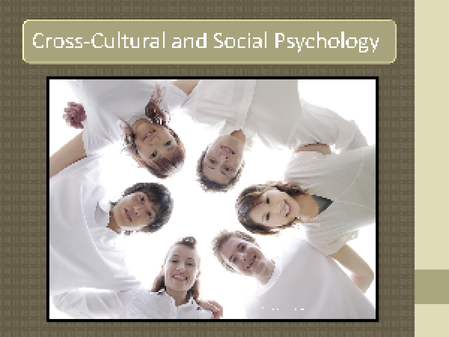 cultural psychology and cross cultural psychology A possible topic could be either on topics in cultural and cross-cultural psychology (eg, self-concept, motivation, interpersonal relations, intergroup processes) or ways in which individuals' adjustment to new cultural environment (eg, immigration, sojourning, exchange study) impact their physical and psychological health.