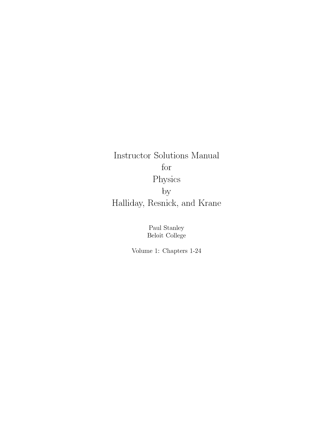 SOLUTION: Physics 5th edition vol-1(Halliday, Resnick, Krane) - Studypool