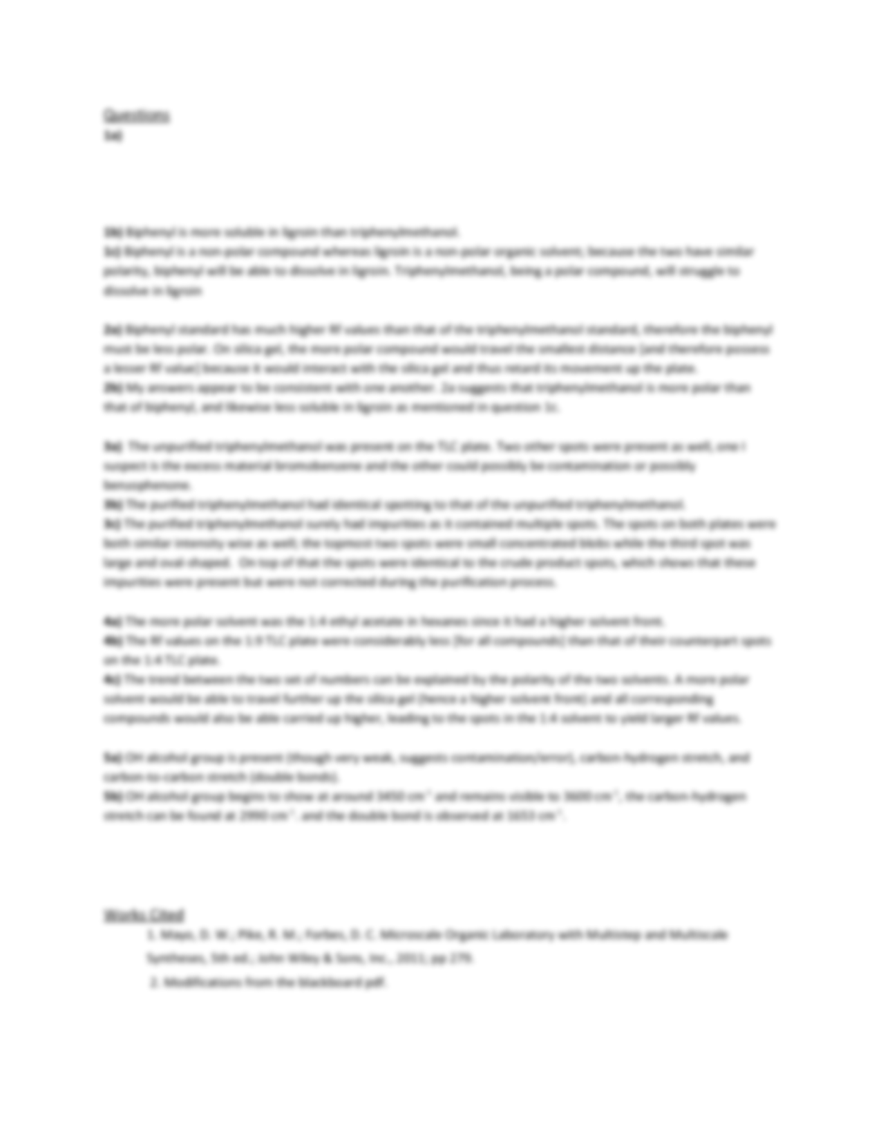grignard reaction lab report The purpose of this lab was to use benzophenone and bromobenzene to  synthesize triphenylmethanol this was done via a grignard reaction.