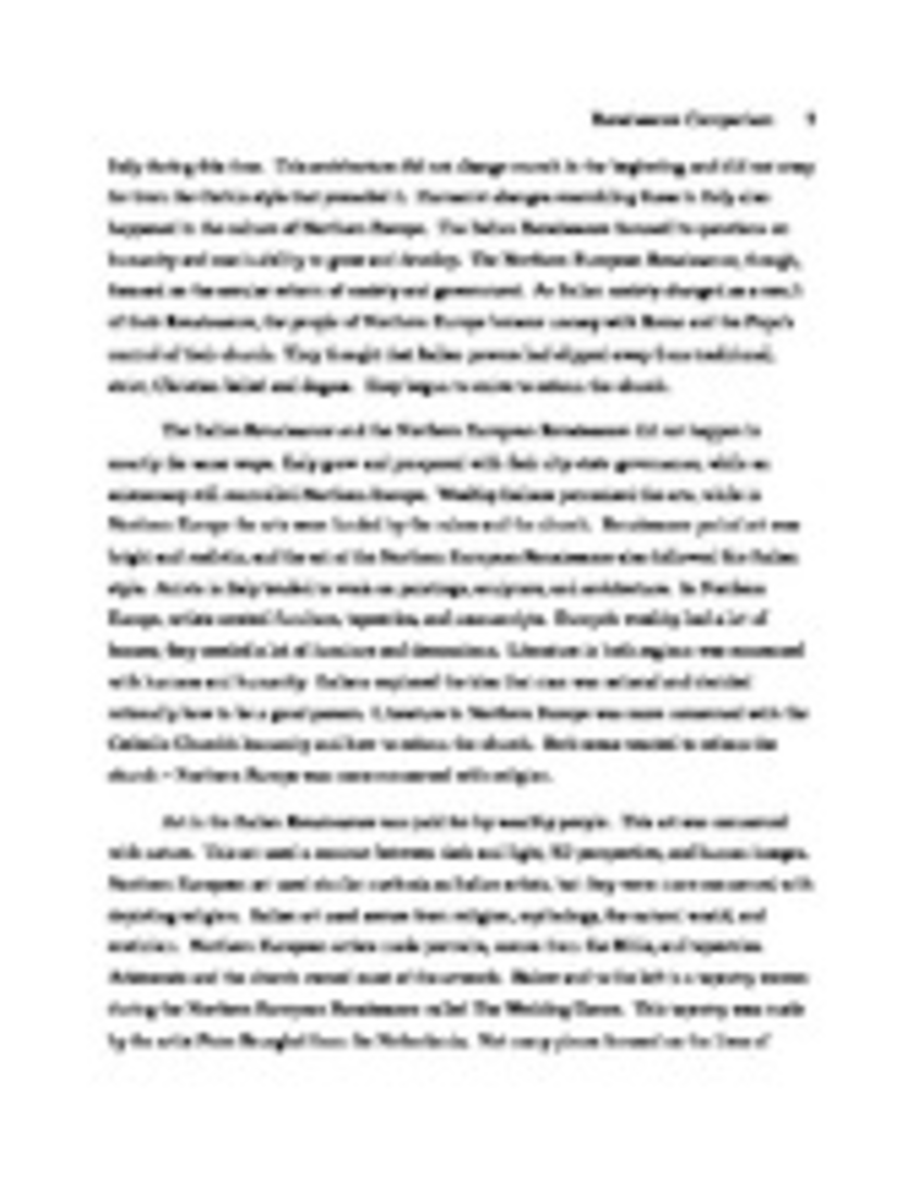 essays on renaissance The harlem renaissance brought about many great changes it was a time for expressing the african-american culture many famous people began their writing or.