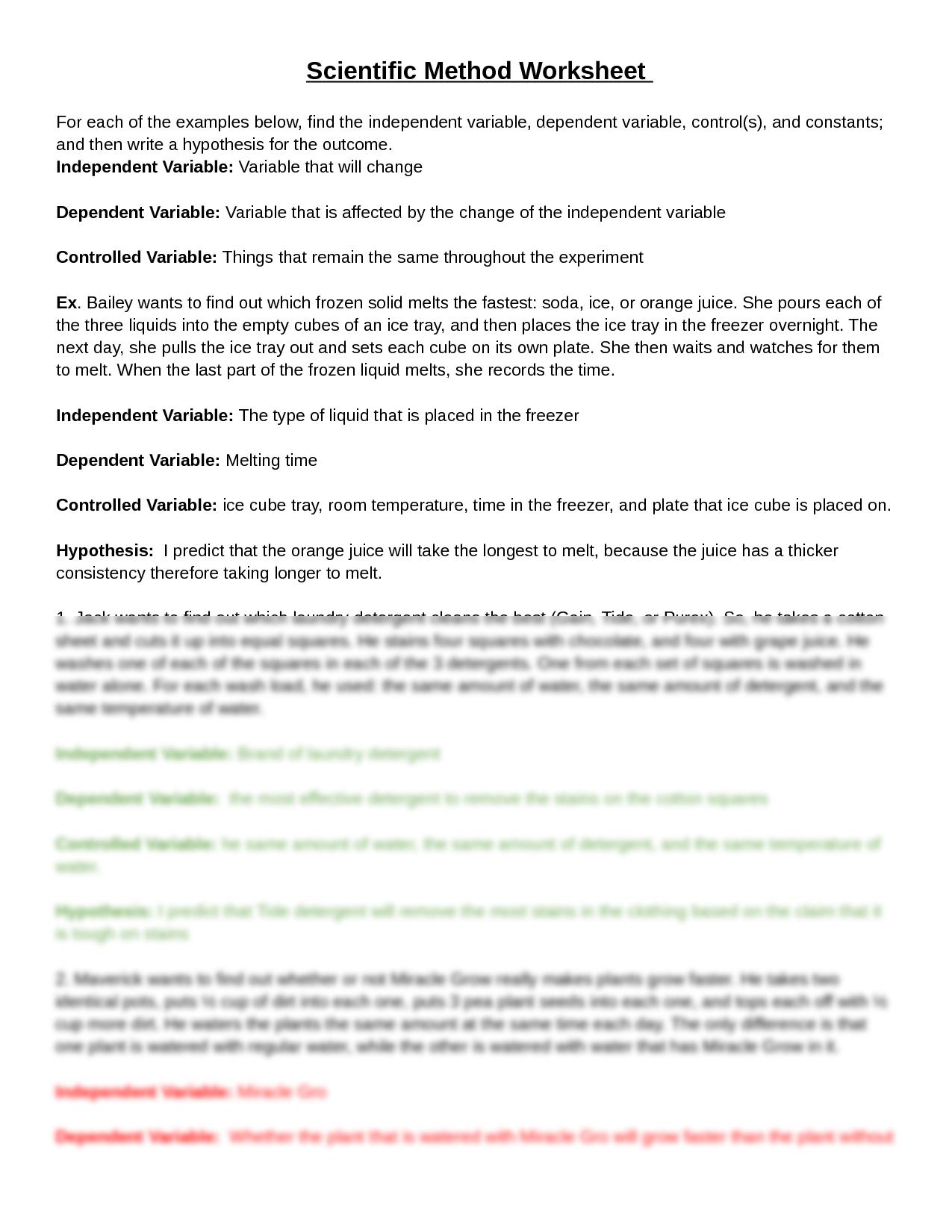 SOLUTION: Scientific Method Worksheet - Studypool Within Experimental Variables Worksheet Answers